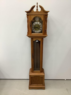 Lot 160 - Reproduction longcase clock in hardwood case with three brass weights and pendulum, 190cm high