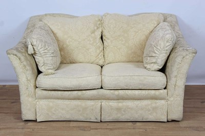 Lot 161 - Traditional style two seater settee with cream upholstery