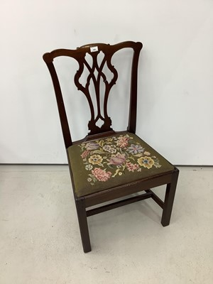 Lot 165 - 19th century mahogany dining chair with pierced splat back and drop in tapestry seat
