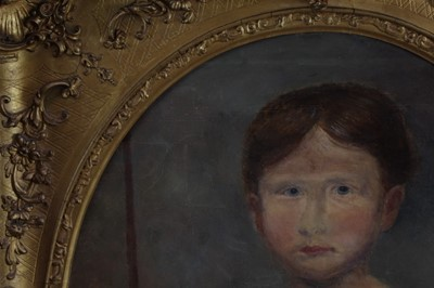 Lot 34 - English School, early 19th century, oval oil on canvas - portrait of a child, 56cm x 46cm, in good gilt frame