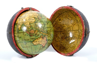 Lot 932 - Fine late 18th / early 19th century terrestrial pocket globe, signed Minshulls charting the voyage of Cooke, with original shagreen case, the interior with celestial map, 3 inches diameter