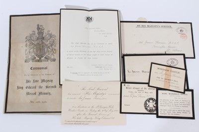 Lot 76 - The Funeral of H.M. King Edward VII, May 10th 1910, a group of ephemera sent to Sir James Thompson , K.C.S.I., The India Office, comprising letter from the Earl Marshall to invite Sir James to ass...