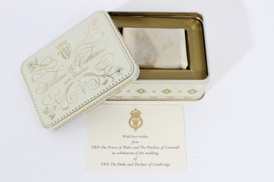 Lot 77 - The Wedding of The Duke and Duchess of Cambridge 29th April 2011, piece of wedding cake in original tin of issue with crowned WC Royal cipher and original card from The Prince of Wales and Duchess...