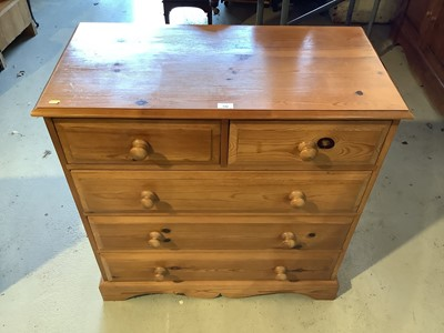 Lot 142 - Pine chest of two short and three long drawers, 90cm wide x 45cm deep x 94cm high and a pair of pine three drawer bedside chests