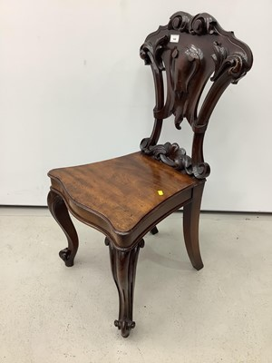 Lot 144 - Victorian mahogany hall chair with pierced carved shield shape back on cabriole front legs