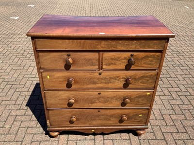 Lot 172 - Victorian mahogany chest with frieze drawer and a further two short and three long drawers below on turned feet, 112cm wide x 58cm deep x 127cm high