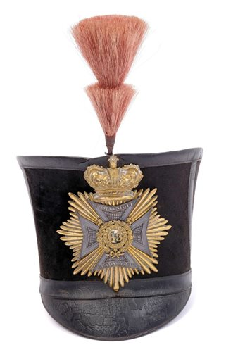 Lot 131-Rare Georgian Officers' bell-top shako of the...