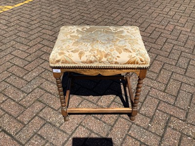 Lot 149 - Dressing stool with upholstered top on bobbin turned legs