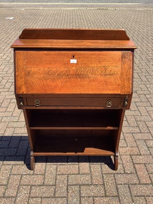 Lot 151 - Oak escritoire with fall front, drawer and open shelves below, 78cm wide x 27cm deep x 114cm high
