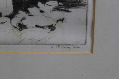 Lot 33 - Sidney Tushingham (1884-1968) signed etching - two children, 26cm x 30cm, in glazed frame p
