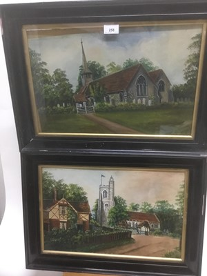 Lot 65 - William Gutteridge, pair of oils on board - South Weald Church and St Mary's Church