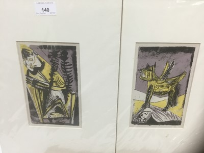 Lot 140 - Robert Colquhoun, pair of lithographs from Poems of Sleep and Dream, mounted, 19cm x 12cm