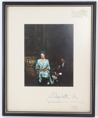 Lot 80 - H.M.Queen Elizabeth The Queen Mother, signed photograph  of Her Majesty with her loyal Page William Tallon