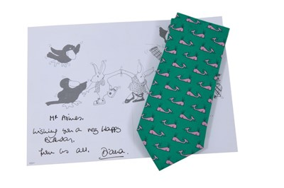 """Lot 78 - HRH Princess Diana of Wales handwritten birthday card to """"Mr Amies"""" and her present to him of a Hermes tie."""