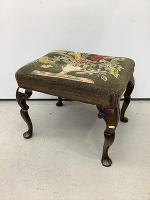Lot 175 - Good quality mahogany stool with floral tapestry seat on shaped cabriole legs 52cm wide x 43cm deep x 46cm high
