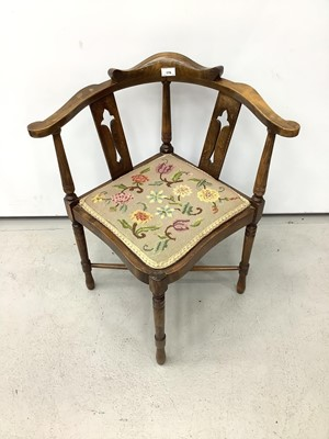 Lot 176 - Edwardian corner chair with tapestry seat on turned legs joined by X frame stretchers