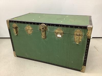 Lot 177 - Metal bound trunk, 91cm wide x 51cm deep x 50cm high