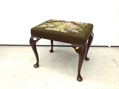 Lot 178 - Good quality mahogany stool with floral tapestry seat on cabriole legs with shell knees, 52cm wide x 40cm deep x 45cm high