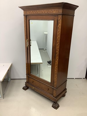 Lot 179 - 19th century mahogany wardrobe with floral marquetry inlaid decoration and bevelled glazed door with drawer below on carved paw front feet, 105cm wide x 52cm deep x 198cm high