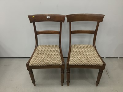 Lot 190 - Pair of antique mahogany bar back dining chairs with drop in seats on turned front legs.
