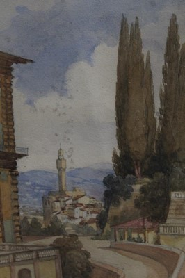 Lot 61 - English School, 19th century, watercolour - 'Palazzo Vecchio & part of the Pitti Palace from the Baboli Gardens, Florence, 1st March 1864', inscribed, 30cm x 19cm, in glazed frame