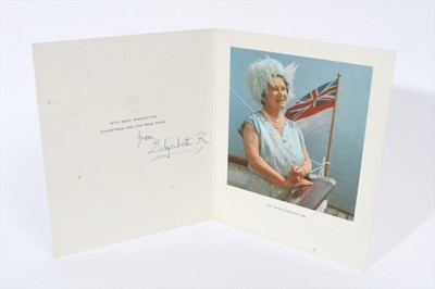 Lot 82 - H.M. Queen Elizabeth The Queen Mother, signed 1967 Christmas card with photograph of Her Majesty 'Off Newfoundland1967' - sent to Reginald Wilcock The Queen Mother's Page