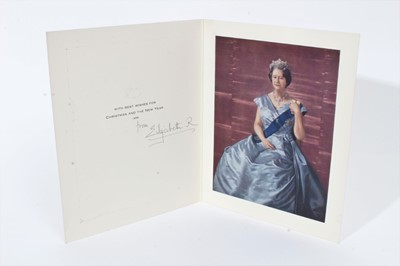 Lot 83 - H.M. Queen Elizabeth The Queen Mother, signed 1968 Christmas card with portrait of Her Majesty - sent to William Tallon