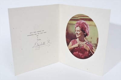 Lot 84 - H.M. Queen Elizabeth The Queen Mother, signed 1969 Christmas card with photograph of Her Majesty in pink floral hat - sent to William Tallon , with envelope.