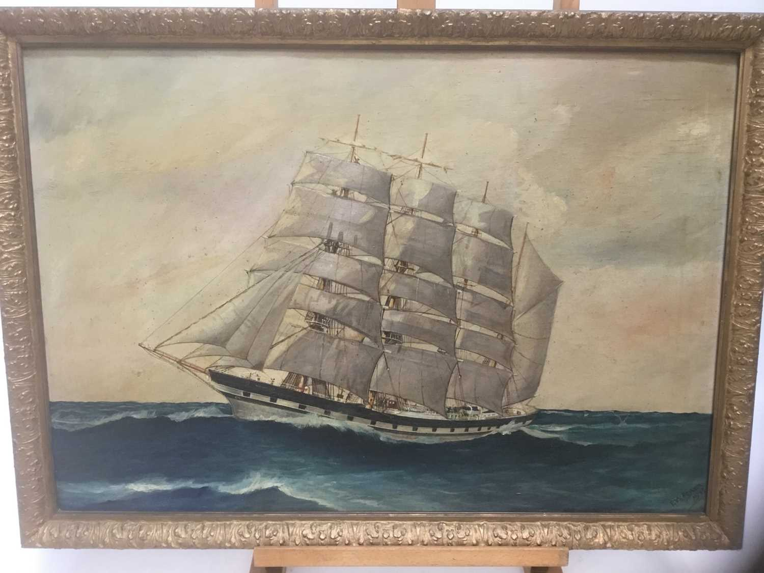 Lot 6 - E W Poyser marine scene, signed and dated 1933
