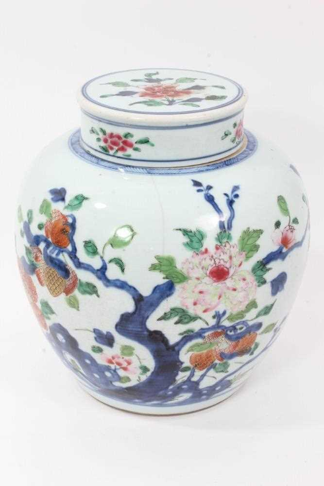 Lot 4 - 18th/19th century Chinese polychrome ginger jar and cover