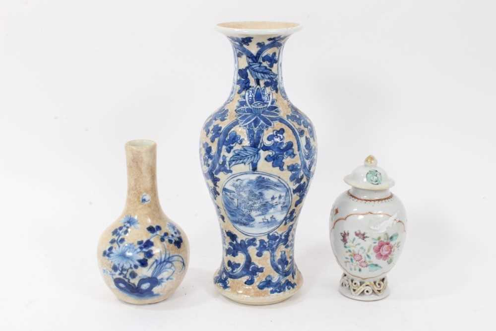 Lot 10 - 18th century Chinese caddy and cover two 19th century vases