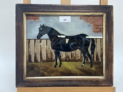Lot 68 - J.B. Whitby 1915, oil on glass, A bay hunter in a landscape, signed and dated, in oak frame. 21 x 26cm