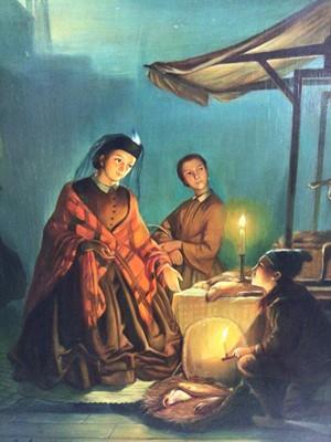Lot 54 - R, Van Molen, oil on panel, A moonlit scene in a Chinese market, in gilt frame. 36 x 30cm.