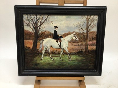 Lot 55 - J. Whitmore early 20th Century, oil on canvas, A lady riding side-saddle on a grey hunter, signed. 34 x 44cm