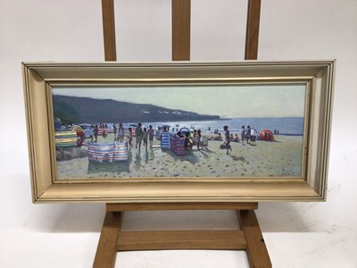 Lot 57 - Z. Phillips, oil on canvas, A beach scene with people enjoying the sun, signed, in painted frame. 19 x 49cm
