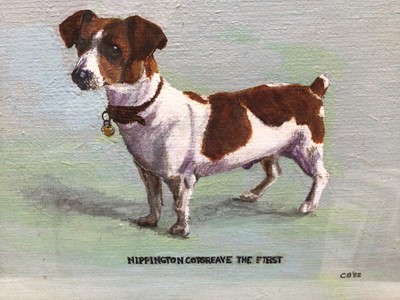 """Lot 58 - English School 20th Century, oil on board, """"Nippington Cotgreave the First"""", a terrier, initialled and dated '82, in painted frame. 15 x 19cm"""