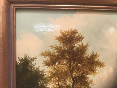 Lot 59 - Swiss School 19th Century, Figures in a mountainous landscape, oil on board, in gilt frame. 19 x 24cm