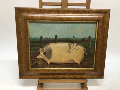 Lot 60 - English School mid 20th Century, oil on panel, A prize pig in a landscape, in a maple frame. 30 x 40cm