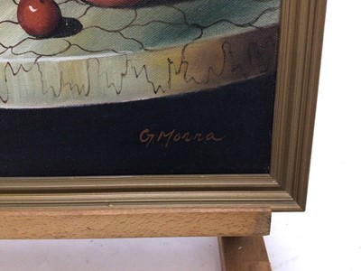 Lot 61 - G. Morra, a 20th century, oil on canvas, Still life of fruit, signed, in gilt frame. 40 x 30cm