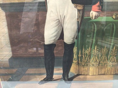 Lot 62 - Leheavel after Robert Lefevre, Napolean standing in an interior, engraving in gilt 30frame. 54 x 39cm