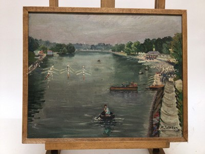Lot 64 - P. Johnson circa 1950, oil on board, A view of Henley Regatta, oil on board, signed, in wooden frame. 31 x 39cm