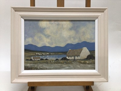 Lot 65 - Manner of Paul Henry 1876 - 1958, oil on board, A cottage at Connemara,  in painted frame, 24 x 34cm