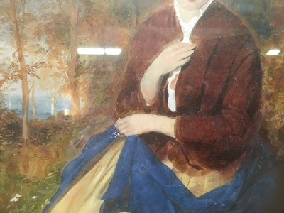 Lot 66 - Victorian School, oil on board, An attractive woman seated in a woodland setting, in gilt frame. 27 x 21cm