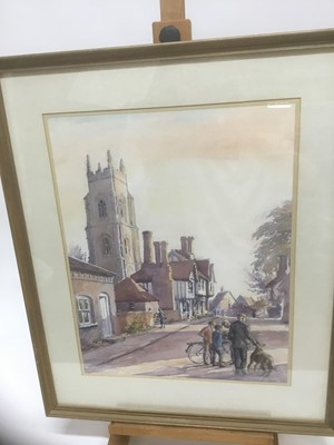 Lot 161 - Anthea Du Rose (contemporary) watercolour- Stoke by Nayland