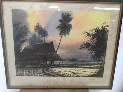 Lot 110 - Abu Baker Ibrahim (1925-1977) pair of watercolours, Malayan landscapes, signed