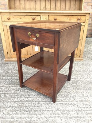 Lot 915 - Georgian mahogany three tier side table, the single drawer flanked by twin drop flaps and two plain tiers below, alterations