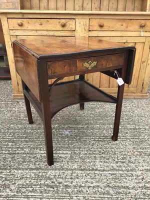 Lot 860 - Georgian mahogany two tier side table, the single drawer flanked by twin drop flaps and a single shaped tier below, alterations