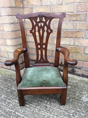 Lot 862 - 19th century and later mahogany child's chair, the shaped pierced splat above scroll arms and drop-in seat, on square legs