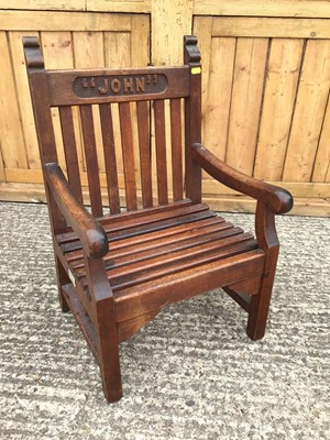 """Lot 863 - Late Victorian child's chair, the top rail carved with the name """"John"""", with plaque stating 'Made from timber removed from H.M.S. """"Britannia"""", cadet training ship at Dartmouth 1869-1905'"""