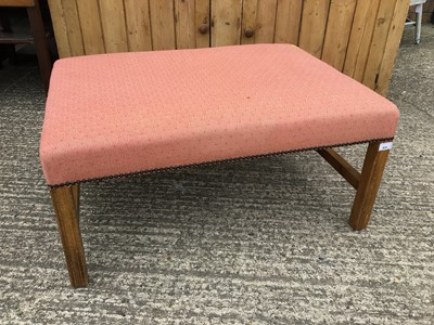 Lot 922 - Rectangular pink upholstered stool on shaped legs joined by stretchers